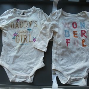 Bundle of 3 baby gap slogan long sleeve bodysuits